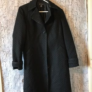 Black knee length coat with belt